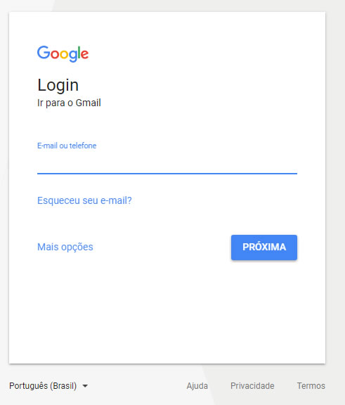 Tela de Login do Gmail